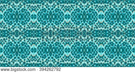 Seamless Snake Skin. Turquoise And Green Colors. Wild Zoo Illustration. Alligator Leather Wild Surfa