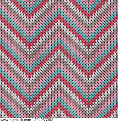 Jersey Zigzag Chevron Stripes Christmas Knit Geometric Seamless Pattern. Carpet Knitwear Structure I