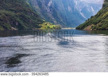 beautiful yacht in Geiranger fjord, Norway