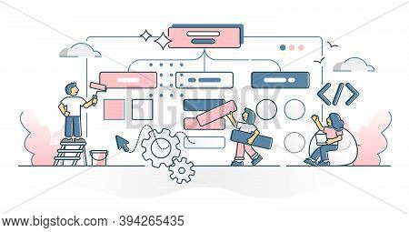 Building Website Project With Coding, Design And Development Outline Concept. Web Page Interface Con