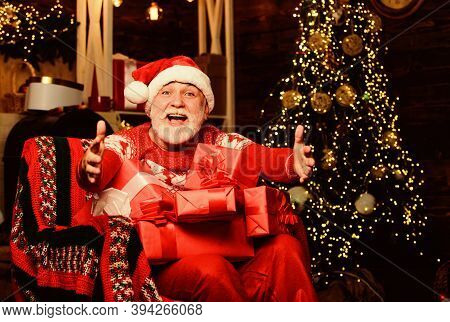 Give It To Me. Merry Christmas. Elderly Grandpa At Home. Delivering Gifts. Winter Vacation. Santa Cl