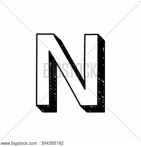 N Letter Hand-drawn Symbol. Vector Illustration Of A Big English Letter N. Hand-drawn Black And Whit