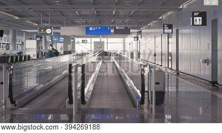 Frankfurt, Hesse/germany - November 2nd 2020: Passengers Waiting At Frankfurt Airport. Only A Few Pe
