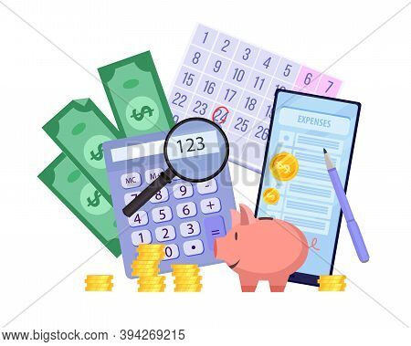 Family Budget Planning Vector Finance Illustration With Piggy Bank, Dollars, Smartphone, Calculator,