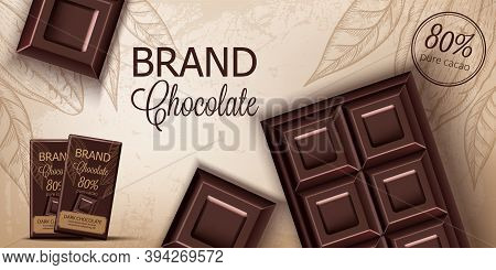 Chocolate Bar And Packaging On Retro Background. Place For Text. Realistic 3d Mockup Product Placeme