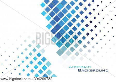 Abstract background modern geometric futuristic graphic. Blue gradient halftone squares background over white. Suitable for template or brochure background, abstract presentation or landing page.