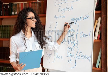Teacher In Classroom. Smiling Professional Female English Teacher Writing On Whiteboard With Marker.