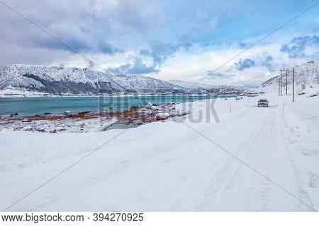 Fabulous Snowy Winter Scene Of  Vestvagoy Island With Snowy  Mountain Peaks On Lofoten Islands .  Lo