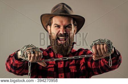 Challenge. Bearded Man Has Aggressive Look. Express His Strength. Male Power And Masculinity. Mature