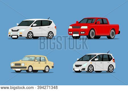 Set Of Modern & Suv Car Collection Auto Front-side View For People Who Love High Speed. Newly-formul