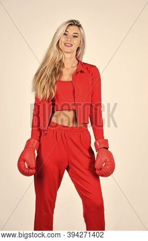 Fight With Own Complex. Overcome Problems. Self Improvement. Sporty Girl Red Clothes Boxing Gloves.