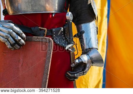 Close Up Of Middle Ages Armor Of The Knight. Historic Armoring Used In Combat Battles.