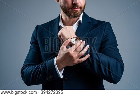 Take A Break. Male Fashion Accessory. Agile Business. Man With Hand Watch. Stylish Business Man. Ric