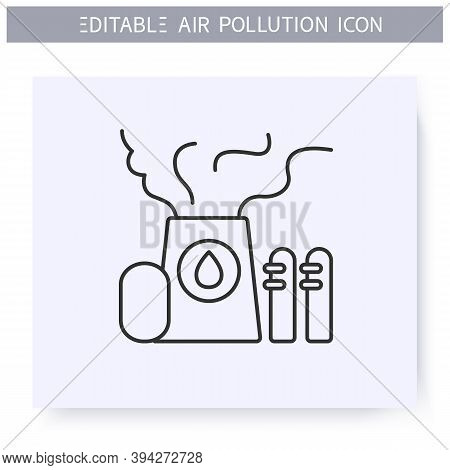 Refinery Emissions Line Icon. Oil Refining Toxic Fumes. Smog, Biohazard Emissions. Greenhouse Effect