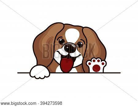 Portrait Of A Sad Puppy Beagle. Dog Head Breed Beagle Sketch