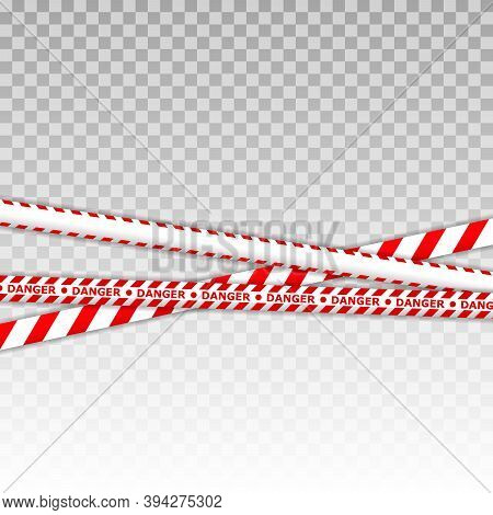 Caution Lines Isolated. Warning Tapes. Danger Signs. Caution Tape Set Of Red Warning Ribbons