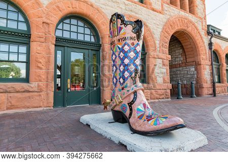 Cheyenne, Wy - August 8, 2020: Large Cowboy Boot Art Sculpture Outside Of The Historic Union Pacific