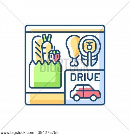 Drive Through Grocery Shopping Rgb Color Icon. Convenience Store. Supermarket Takeout. Food For Take