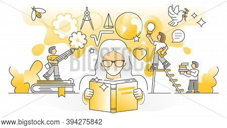 Knowledge Study As Personal Development And Growth Monocolor Outline Concept. Smart Academic Learnin