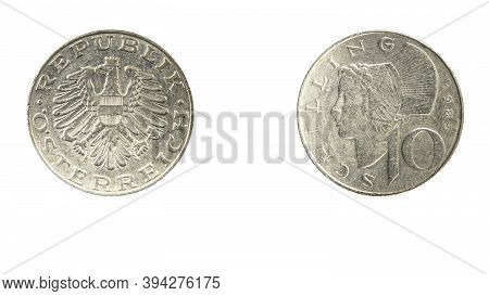 Authentic 10 Austrian Schilling Coin Year 1985 Obverse And Reverse Side On White Background,macro Cl