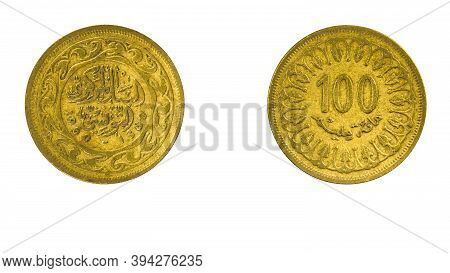 Authentic Tunisian Coin 100 Milliemes Year 1960 Obverse And Reverse Side On White Background,macro C