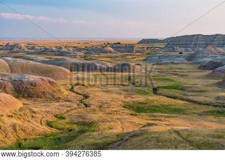Valley In Badlands National Park In South Dakota