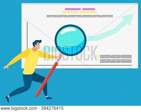 Man Analyzing Data Vector, Businessman With Magnifying Glass And Information On Board. Success On Gr