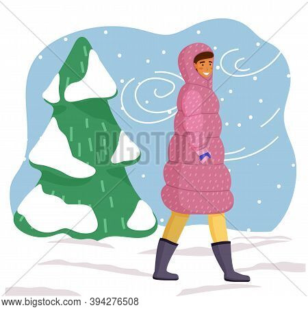Young Girl In Pink Dotted Puffy Winter Jacket, Black Warm Boots, Walks And Smiles. Girl Walks On A S