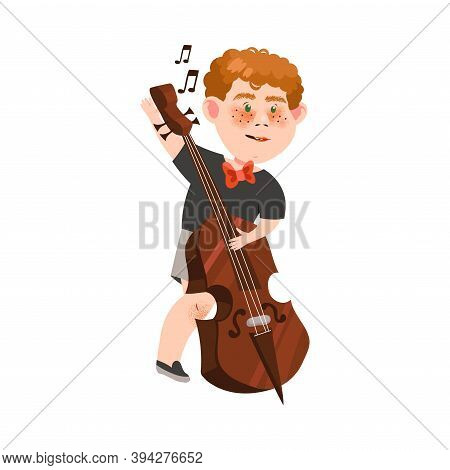 Funny Freckled Boy Character Playing Cello Vector Illustration
