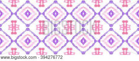 Seamless Watercolor Geometry. Pink, Purple And White Colors. Handmade Tile Design. Trendy Tie Dye Ba