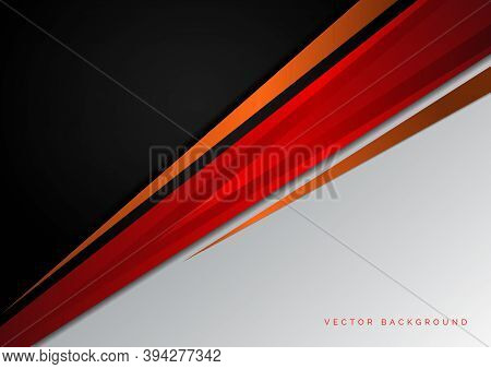 Template Corporate Concept Red Black Orange And Grey Contrast Background. You Can Use For Ad, Poster