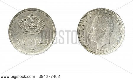 Authentic 25 Spanish Pesetas Coin Year 1975 Front And Rear View On White Background Copy Space
