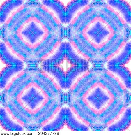 Seamless Victorian Pattern. Geometric Bohemian Ceramic. Repeating Fabric Design. Blue, Purple And Pi