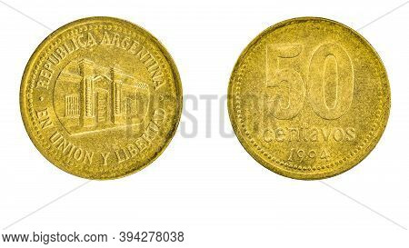 Argentine Coin 50 Centavos Year 1994 Obverse And Reverse View Macro Close Up On White Background Cop