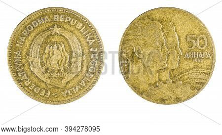 Former Yugoslavia 50 Para Coin Year 1955 Obverse And Reverse Side On White Background,macro Close Up