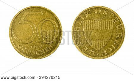 Authentic Austrian 50 Groschen Coin Year 1980 Obverse And Reverse Side On White Background,macro Clo