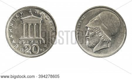 Authentic Greek Coin 20 Drachmai Year 1982 Obverse And Reverse Side On White Background,macro Close