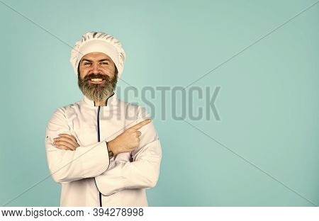 Lunch Meal. Restaurant Dish. Delicious Dessert. Cook Chef In White Uniform. Bearded Mature Man Chef.