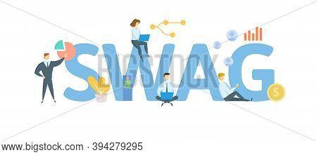 Swag, Scientific Wild-assed Guess. Concept With Keywords, People And Icons. Flat Vector Illustration