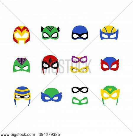 Comic Superhero Man And Women  Masks Set Vector Illustration In A Flat Cartoon Style Isolated On Whi
