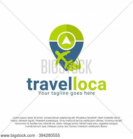 Travel Company Logo Icon Design Concept Template. Airplane With Pin Vector Illustration Isolated On