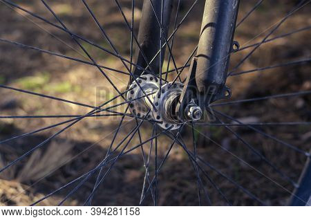 The Front Wheel Of A Mountain Bike In A Sunny Autumn Forest. Bicycle Wheel With Close-up Spokes. No
