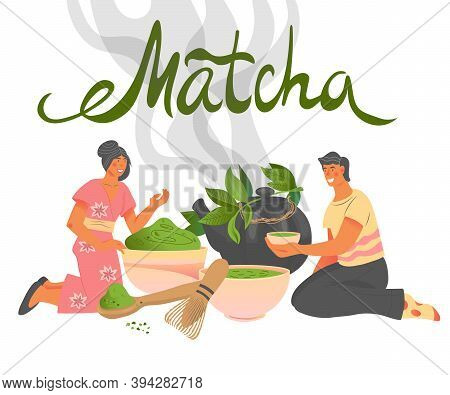 Packaging Design For Matcha Tea Or Teahouse Cards, Vector Illustration.