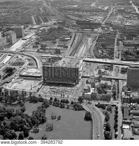 The Hague, Holland, June 20 - 1975: Historical black and white aerial photo of the new built Central Railway Station in The Hague, Holland