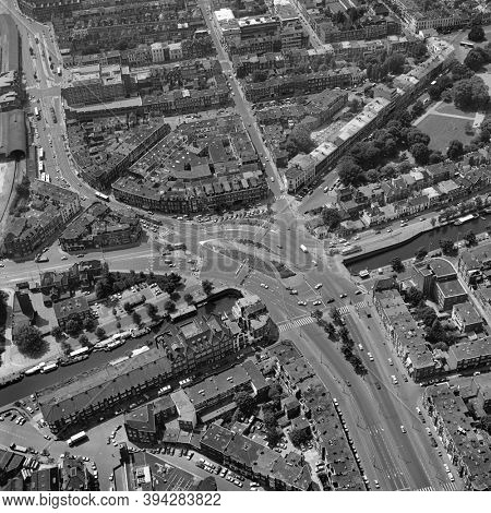 The Hague, Holland, July 4 - 1977: Historical aerial photo  in black and white of the Rijswijkse square, a complicated traffic point at the south side of The Hague