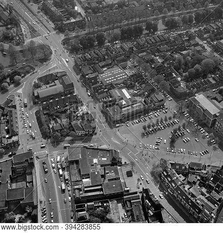 Leiden, Holland, May 07 - 1976: Historical black and white aerial photo of the Garenmarkt and the former Nature Historical Museum in Leiden, Holland