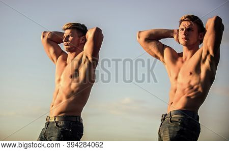 Muscular Twins. Men Brothers Muscular Guys Sky Background. Strong Muscular Athlete Bodybuilder. Attr