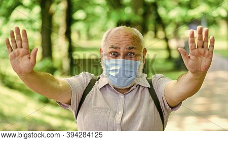 Mask Protecting From Virus. Older People Highest Risk Covid-19. Easing Of Lockdown Restrictions. Wea