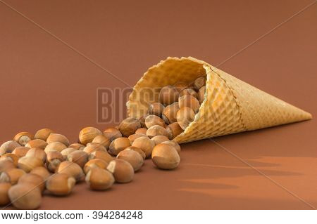 Fenduk, A Hazelnut, Spilled Out Of A Waffle Cup Onto A Brown Background. The Idea Is That The Most D