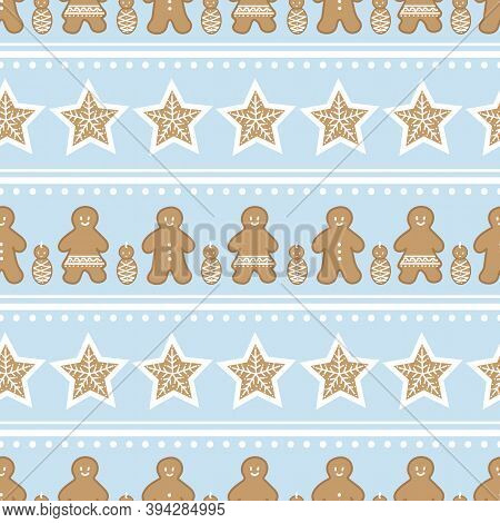 Vector Gingerbread Figures Geometric Seamless Pattern Background.